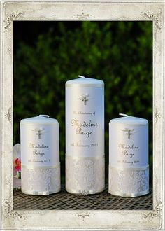 Glamorous Pearl Christening Candle Set of 3. Personalise this unity set for a Christening, Baptism or Naming Day.