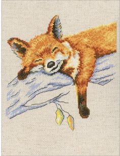 RTO Autumn Dream - Cross Stitch Kit. Cross Stitch Kit featuring a fox resting on a tree branch. This Cross Stitch Kit comes complete with 16 Count Zweigart Aida