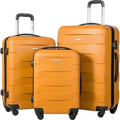 Coolife Luggage 3 Piece Set Spinner Trolley Suitcase Hard Shell Lightweight Carried On Trunk