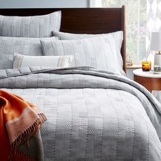 Dobby Patchwork Quilt + Shams - Feather Gray | West Elm
