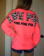 Pink by Victoria's Secret coral pink longer fit sweatshirt crew eyc Small