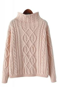 Cozy High Collar Long Sleeve Loose Pullover Sweater Cable Knit Sweaters a6357711e