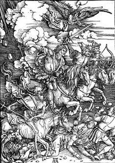 Albrecht Dürer, de vier ruiters van de Apocalyps, dateert uit 1498. Op deze houtsnede lopen de vier gedetailleerd weergegeven ruiters de gewone mensen onder de voet.