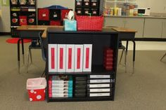 Cute room organization ideas, like the idea of a shelf to keep the tables binders and supplies in
