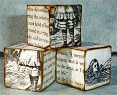 Actually might be quite easy to make...a little brown distressing ink, print out some vintage ephemera from online, a little modge podge and some wood blocks!