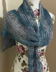 Free Knitting Pattern for One Row Repeat Lace Scarf - Easy openwork scarf knit with a one row repeat lace pattern. Designed by Magda Stryk Therrien who says this is the easiest lace pattern ever. Great for multi-color yarn! Pictured project by ingerasata