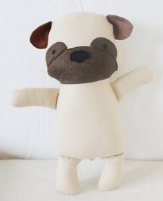 Pug Dog Sewing Pattern Puppy Softie Plush Toy Cloth Doll by ElfPop