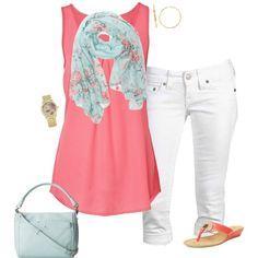 Coral tank, floral scarf, mint accessories, white capri