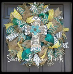 Deco Mesh Cross Wreath available at SouthernThrills on etsy $75