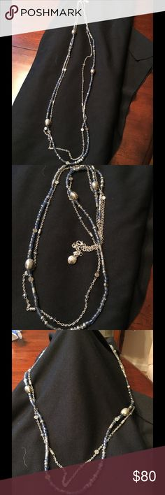 """NWOT Brighton Deja View Blue Necklace Brighton Deja View Blue Necklace.  Closure: Lobster Claw, Length: 38"""" - 40"""" Adjustable Material: Czech glass Recycled glass, Finish: Silver plated. This is a beautiful necklace!!  NWOT! Brighton Jewelry Necklaces"""