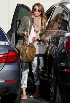 Take Styling Cues From Jessica Alba's Cool-Girl Street Style: Jessica Alba took her cool outfit — green anorak, wrap scarf, and pastel print denim by Citizens of Humanity — to new heights via a suede Jimmy Choo bag and mirrored Westward Leaning sunglasses in Santa Monica.