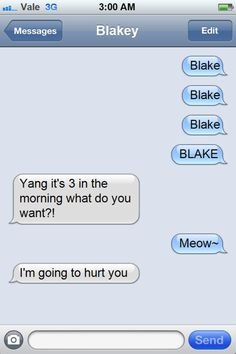 RWBY- Blake and Yang texting misadventures! I can totally see this happening!   tumblr_msvm3wXcwv1sn3izwo1_500.png 500×750 pixels