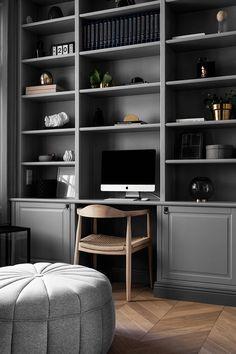 Home Library Design, Home Office Design, Home Office Decor, House Design, Home Decor, Office Ideas, Office Built Ins, Built In Desk, Desk Wall Unit