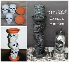 Dollar Store Crafter: DIY Halloween Skull Candle Holders - Real Time - Diet, Exercise, Fitness, Finance You for Healthy articles ideas Halloween Home Decor, Outdoor Halloween, Diy Halloween Decorations, Halloween Skull, Holidays Halloween, Halloween Birthday, Halloween Diy, Halloween Crafts To Sell, Dollar Tree Halloween