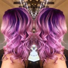 Ig'S lovely used electric amethyst and purple haze on the roots and cotton candy pink with electric amethyst on the ends. purple ombre to Hair Color Purple, Pink Hair, Purple Ombre, Hair Colors, Colours, Cotton Candy Hair, Gorgeous Hair, Beautiful, Bright Hair