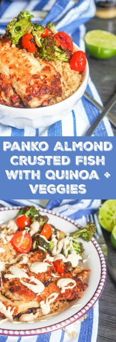 Panko almond crusted fish with quinoa, veggies and a tahini mustard sauce makes for a jam packed weeknight dinner meal. Lots going with with tons of contrasting flavors that all blend perfectly together. Gluten Free + Dairy Free.  | avocadopesto.com