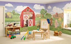 Inspiration for the Springtime Morning on the Farm wall (actual mural site)