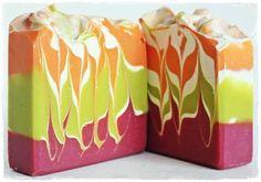 Light green, pink, orange and white swirl