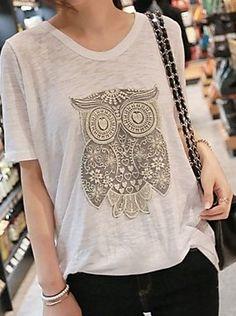 Micro-elastic Short Sleeve Owl T-shirt