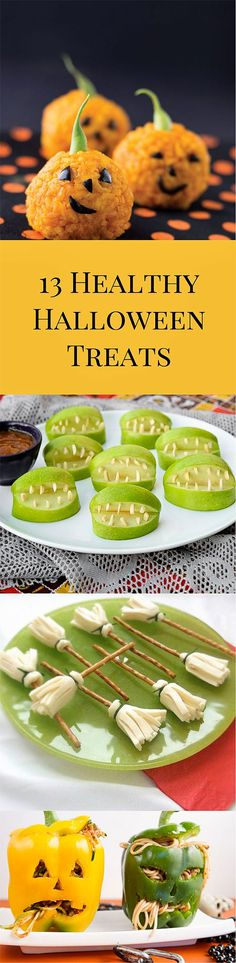 13 Healthy Halloween Treats for Kids. Cheese Witch's Brooms - 12 Slices of Cheese - 12 Pretzel sticks - 12 Fresh Chive 1.- Fold each cheese slice and cut the fringes of the broom using a pair of scissors. 2.- Roll the slice of cheese around a snack stick having the fringes looking down. 3.- Finally to keep the cheese around the stick, use some chive and knot it around.