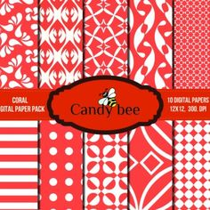 Great set of 10 Coral Digital Papers with an amazing color combination of white and red.