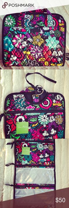 VeraBradley Make up bag Disney Top zippered, quilted compartment plus two taffeta-lined, clear plastic compartments Vera Bradley Bags Cosmetic Bags & Cases