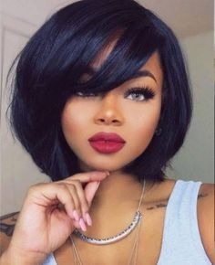 Short Black Hairstyles With Bangs Best Hairstyle For Thick Coarse Wavy Hair  Pinterest  Weave