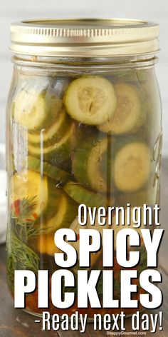 Overnight Spicy Pickles - easy homemade refrigerator pickle recipe ready the next day! You won't believe how GOOD they are! Food Recipes For Dinner, Food Recipes Deserts Canning Spicy Pickles, Spicy Pickle Recipes, Cucumber Recipes, Canning Recipes, Veggie Recipes, Low Sodium Pickles Recipe, Easy Pickle Recipe, Canning Tips, Homemade Refrigerator Pickles