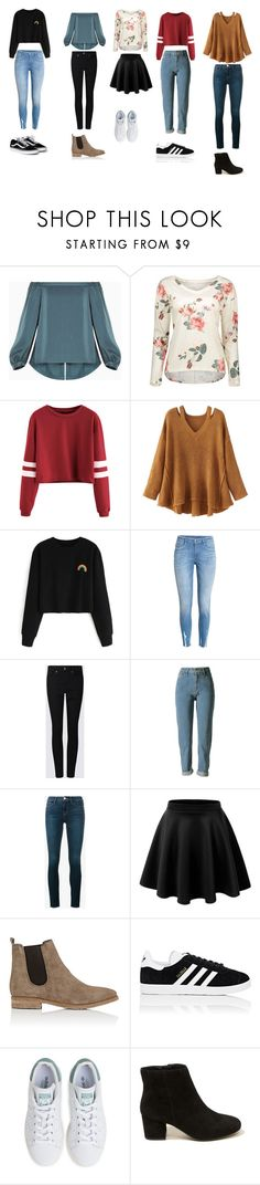 """""""School"""" by adflprns on Polyvore featuring BCBGMAXAZRIA, WithChic, Frame, Barneys New York, adidas and Hollister Co."""