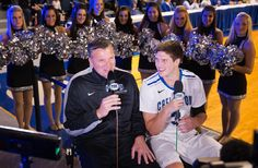 Creighton coach Greg McDermott and son Doug McDermott were interviewed by FOX Sports 1 during CU Bluejay Madness on Oct. 25, 2013. By: BRYNN ANDERSON/THE WORLD-HERALD
