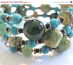 ON SALE Memory Wire Jewelry Kazuri Beads by lizbriggsdesigns