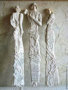 "Фигурки-панно ""Парижанки"" (папье-маше). Handmade. $93"