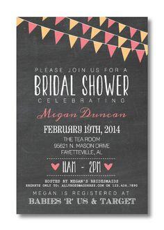 Printable Bridal Shower Invitation #chalkboard #flags #banner