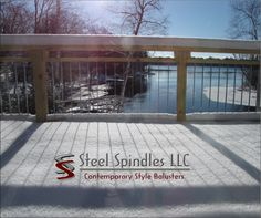Stratospindle is as thin as wire deck cables by Steel Spindles LLC. snow on your deck is not a problem for the stainless steel spindles. Love how this looks! Deck Balusters, Steel Deck, Composite Decking, Safety Tips, Wire, Stainless Steel, Snow, Outdoor Decor, Courtyards