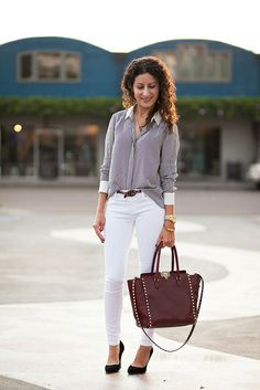 I love the look of the white pants with the vertical strips (and the white collar and cuffs are cool!) with the beautiful burgundy and gold accents.