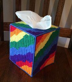 Tie Dye Look Tissue Cover Handmade Rainbow Colors Yarn Plastic Canvas | eBay
