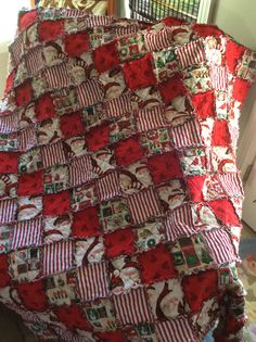 My Christmas Rag Quilt I just finished!