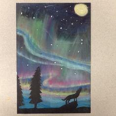 Middle school art lesson. Oil pastels  and chalk pastels. Aurora Borealis. Silhouette collage