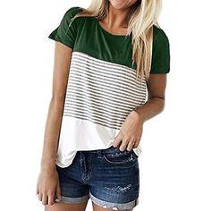 haoricu Womens Short Sleeve Leopard Color Block Tunic Comfy Stripe Crewneck T Shirt Top