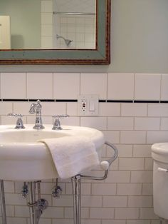 My house is a bungalow built in 1912 (Happy 100 years) so in keeping with the vintage I think subway tile is the way to go but I'm going to add a glass tile listello in shades of green.