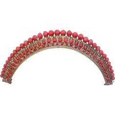 Georgian gilded ormolu tiara carved coral scroll design hair accessory
