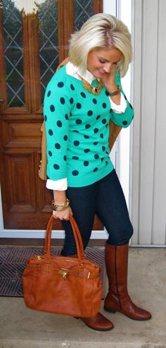 skinny jeans, white button down blouse, aqua/navy polka dot sweater, tall brown boots, brown tote, gold necklace