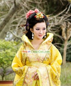 Ancient Chinese Golden Empress Costume Complete Set