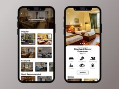Accommodation & Restaurant Mobile App UI/UX designed by Afaq. Connect with them on Dribbble; Mobile Ui Design, App Ui Design, Interface Design, User Interface, App Home Screen, Hotel App, Business Web Design, Restaurant App, Mobile App Ui