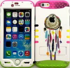 """White, Green and Pink """"Dreamcatcher Colorful Feathers with Non-Slip Grip Texture"""" 3 Piece Layered ULTRA Tuff Custom Armored Hybrid Case for the NEW iPhone 6 Plus 5.5"""" Inch Smartphone by Apple {Made of Soft Silicone Gel and Hard Rubberized Plastic with External Built in Kickstand} """"All Ports Accessible"""""""