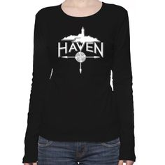 Haven Syfy Inspired T-Shirts: Haven Logo White Silhouette Women's Long Sleeve T-Shirt