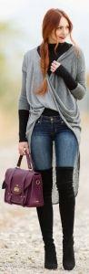 #winter #fashion / oversized knit cardigan + boots