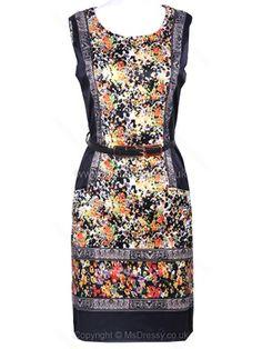 Navy Sleeveless Retro Print Belt Shift Short Dress for HPL