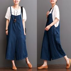 FantasyLinen Cowboy Blue Causel Loose Overalls Big Pocket Trousers Women Clothes $63.90 As of - 06.15.2016
