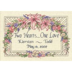 $9.39 5x7 DIMENSIONS-Wedding: Counted Cross Stitch: Mini Marriage Record. What better way to commemorate that special time than with this delicate confection. Finished Size: 7x5in. Design: One Love. Designer: Dimensions.